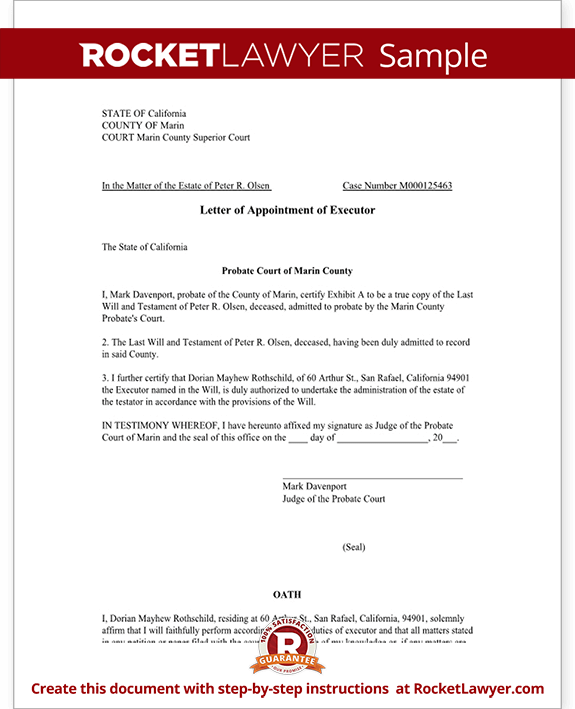 Sample Letter Appointment Executor Form Templateg Agent Free Example Format
