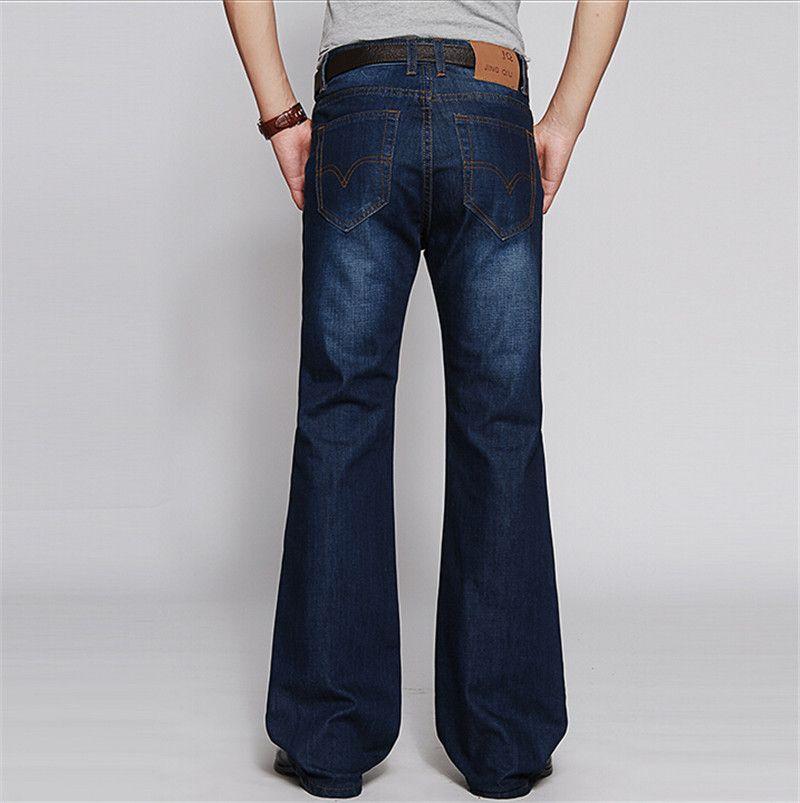 Mens Flared Jeans Boot Cut Leg Flared Elastic Slim Fit Mid Waist ...