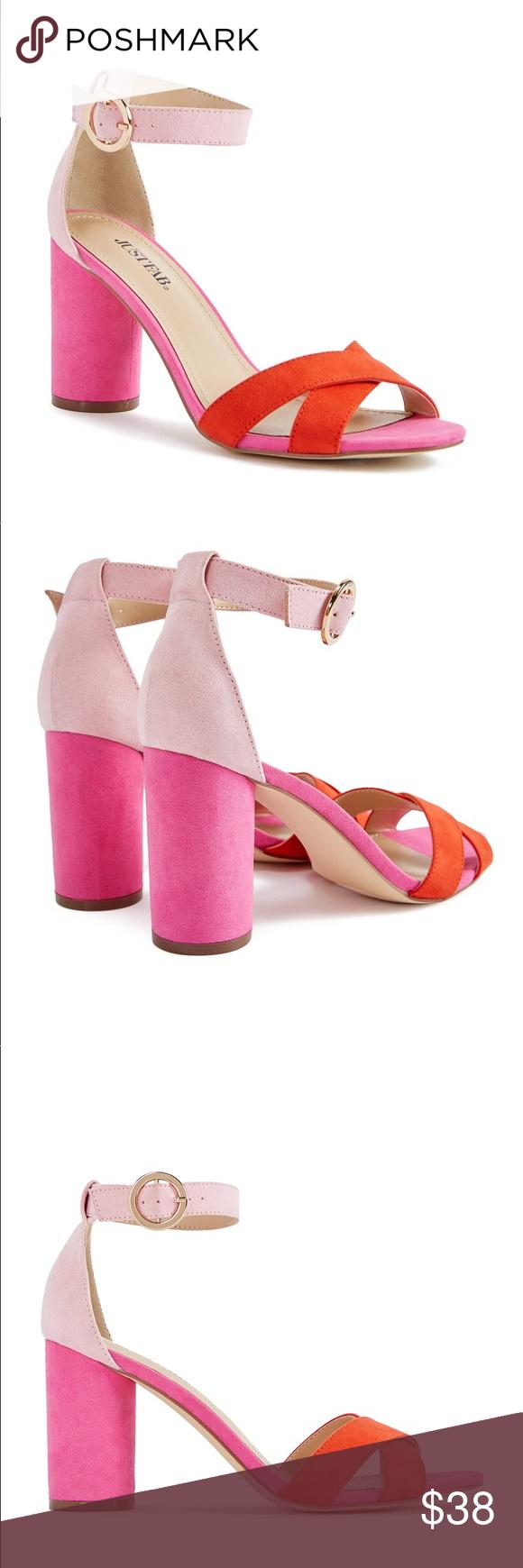 Brand new pink red block heels in My Posh Picks Pinterest