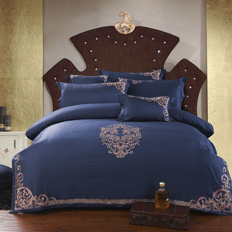 Royal Blue Egyptian Cotton Queen Amp King Size Duvet Cover Bedding Set Home Amp Garden Bedding Duvet Covers Amp Bedding Set King Size Duvet Covers Bed