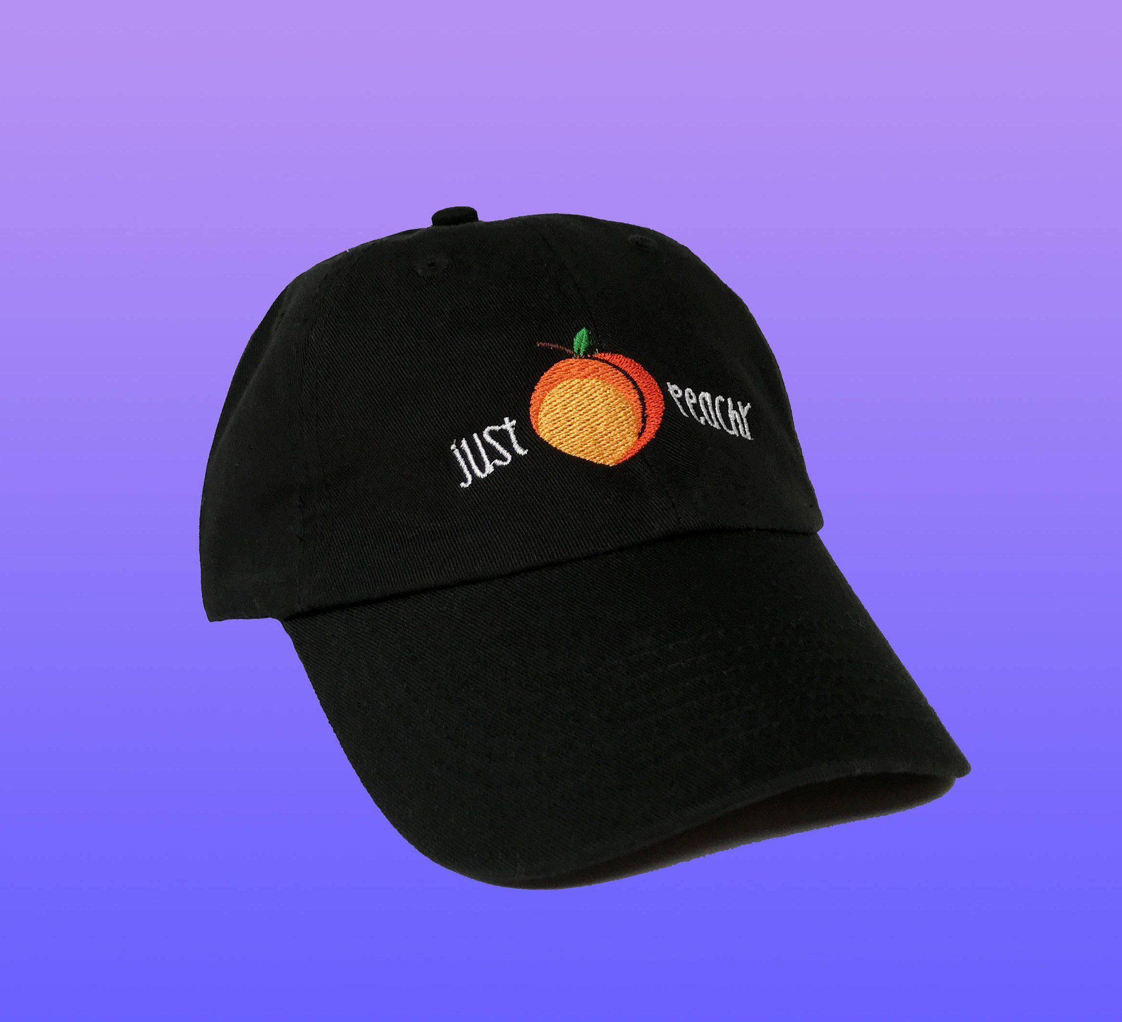 1710283b351a0 This cute embroidered dad hat will keep you smiling and remind you that  everything will be just peachy! Each hat is unisex and adjustable.