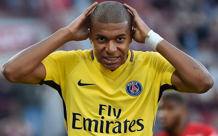 Lataa kuva Kylianin Mbappe, PSG, Paris Saint-Germain, Ranskalainen jalkapalloilija, jalkapallo