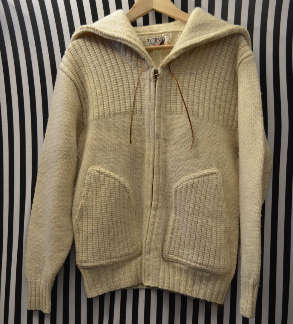 Pendleton LOBO Sweater Jacket style Coat 100% Virgin Wool Cable ...