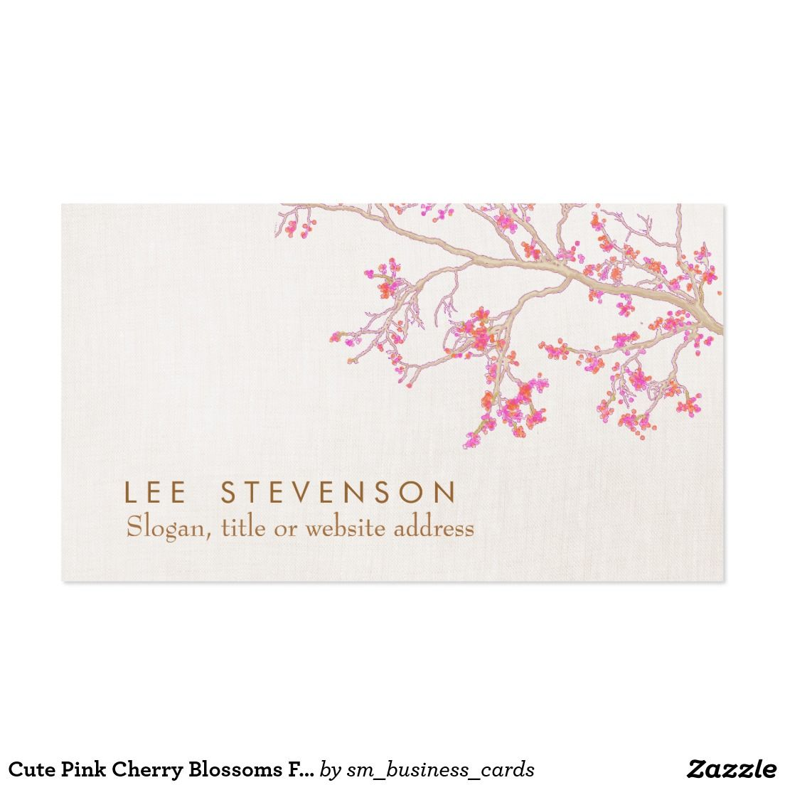 Cute Pink Cherry Blossoms Floral Nature | Business Cards | Pinterest ...