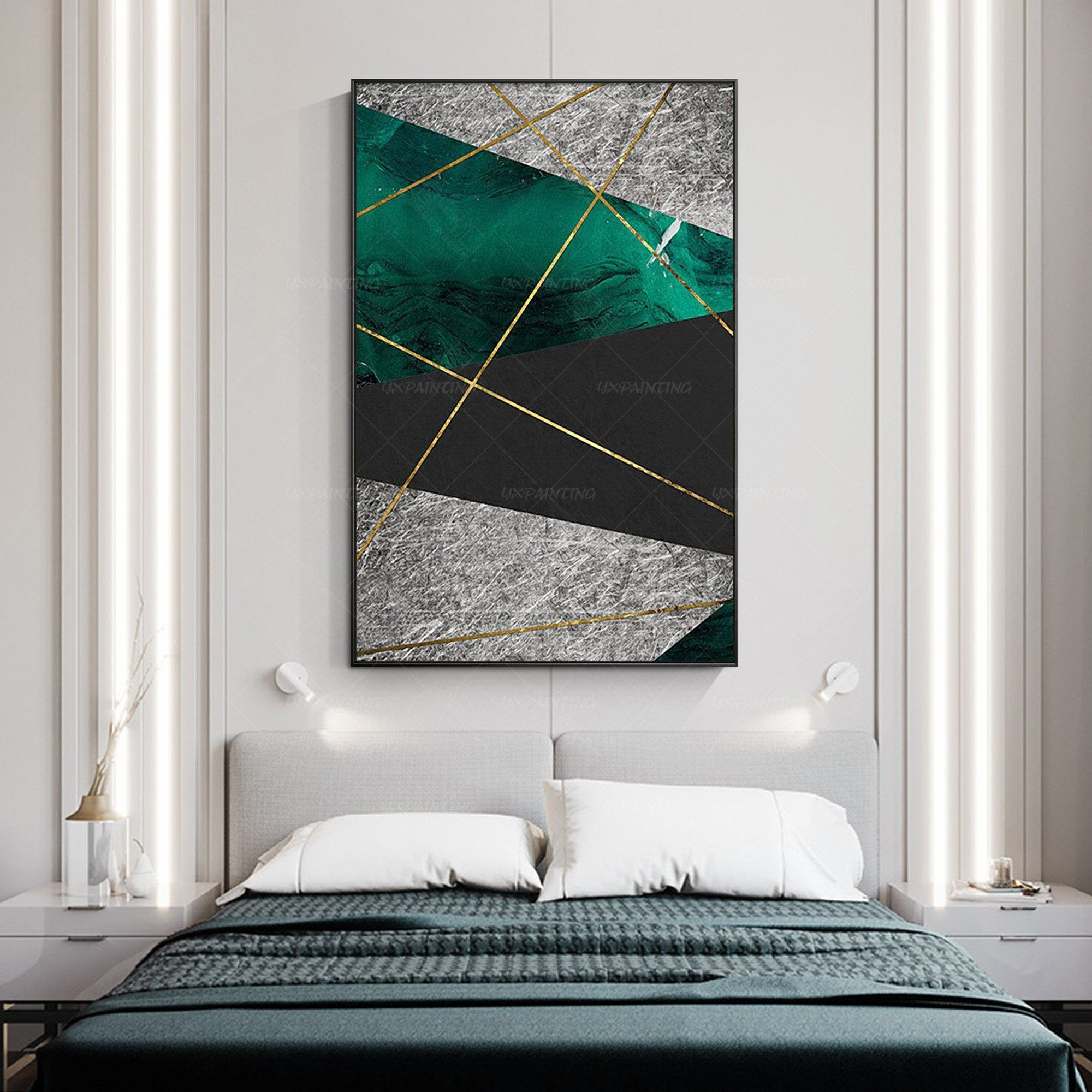 Silver Art Wall Decor Emerald Green Abstract Print On Canvas Ready To Hang Framed Poster Canvas Print Framed Paint Framed Wall Art Sets Wall Art Decor Art Wall