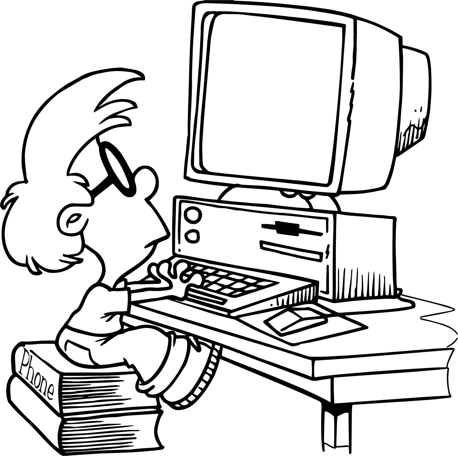 Computer Kid Playing Coloring Page Computer Drawing