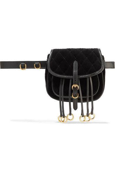 7d7ff83c1900 PRADA Leather-Trimmed Quilted Velvet Belt Bag.  prada  bags  leather  belt  bags  velvet
