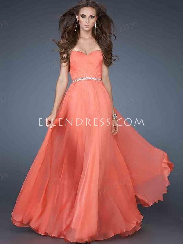 2013 Styles a Line Sweetheart Sleeveless Floor Length Chiffon Cheap Long Prom Dresses