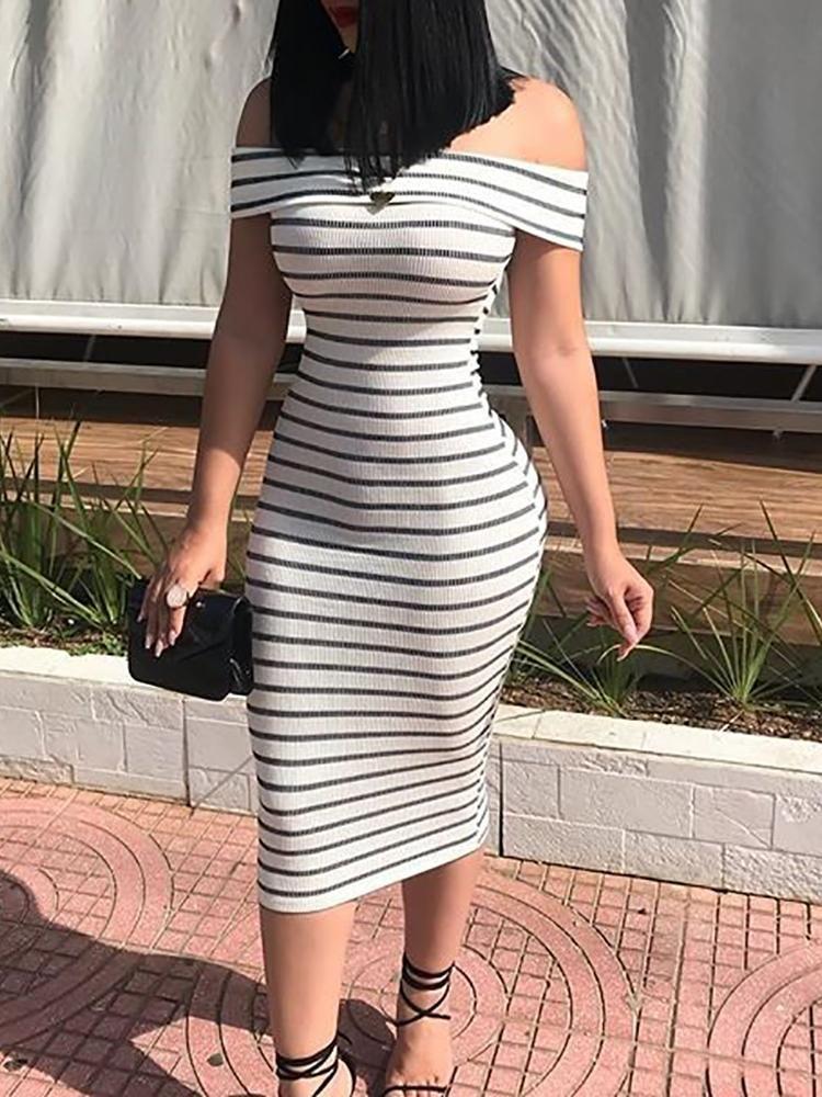 6835242cafb5 Striped Fold Over Off Shoulder Bodycon Dress Skirt outfits Dress  Embellished shorts Dress Skirt set Fashion turtleneck Fashion outfits  Fashion dresses ...