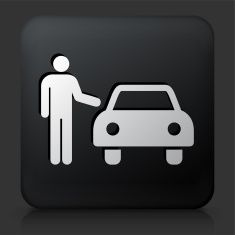 Black Square Button with Car Icon vector art illustration