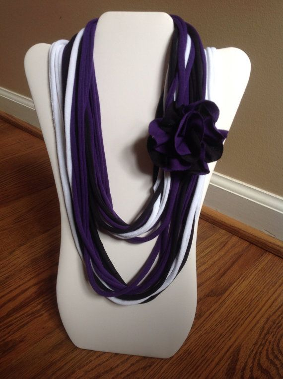 Purple Scarf Recycled Jewelry Purple Recycled Infinity Scarf Upcycled T-shirt Scarf Sustainable Fabric Jewelry Tagua Nut Pendent