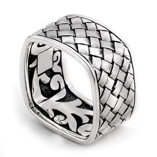Samuel B Square Basket Band Sterling Silver Weaved Square Ring