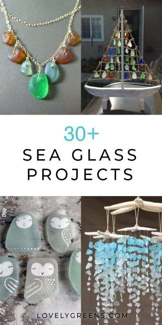 Info's : Thirty sea glass ideas and DIY projects including jewelry, stepping stones, & artwork. Use pretty glass from the beach to make crafts for the home & garden #seaglass #craftidea #glassart