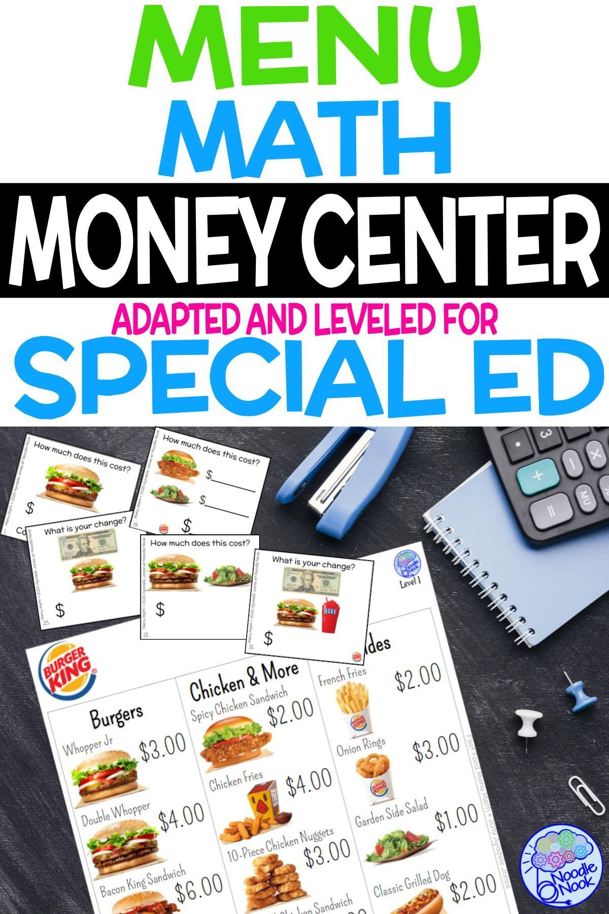 Fast food menu math burger king for special education