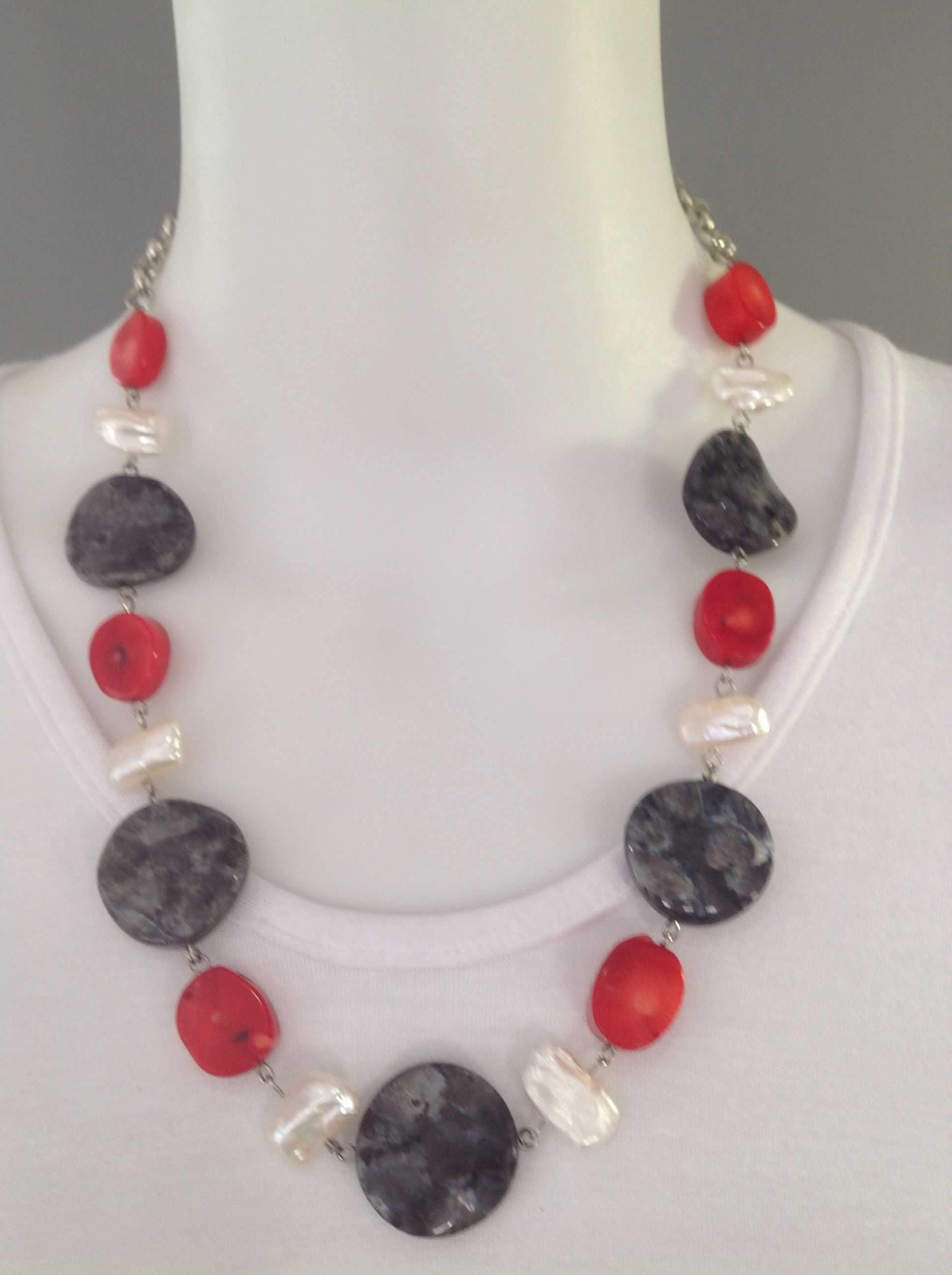 Chunky short gemstone necklace with large grey labradorite twist beads, red bamboo coral and white biwa pearls - Michela Rae