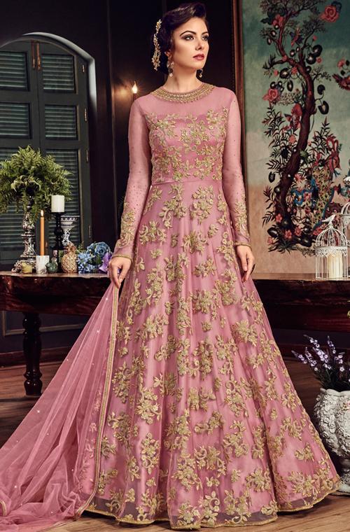 c3fd92e1de Pink & Gold Designer Heavy Embroidered Net Bridal Anarkali Gown – Saira's  Boutique