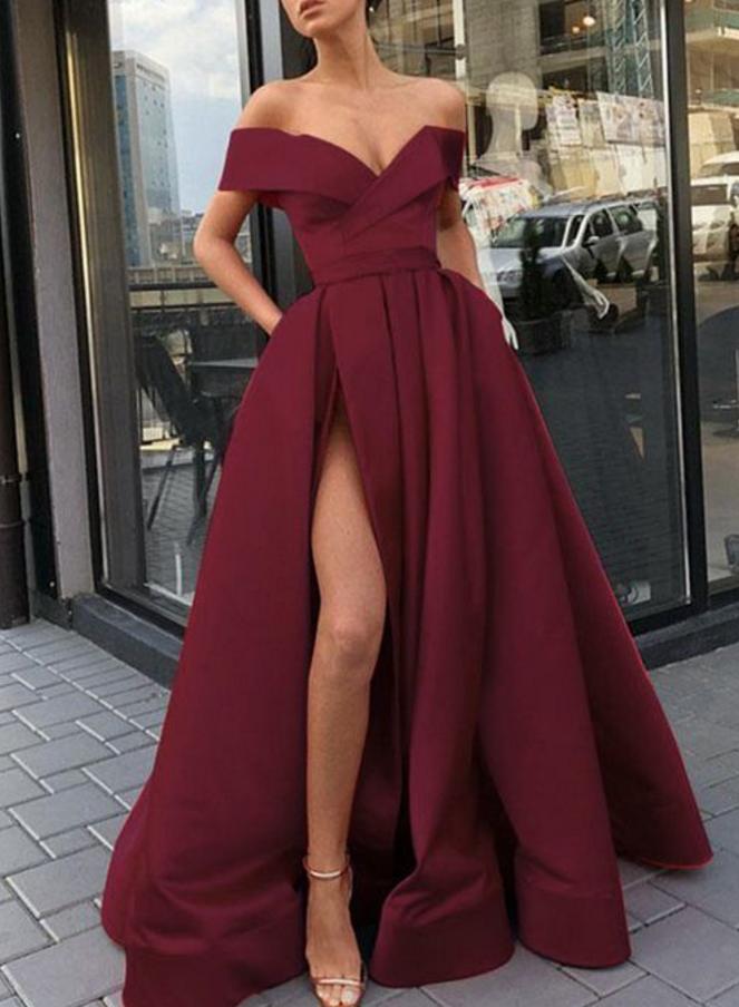 Elegant Sexy V-Neck Burgundy Satin Long Prom Dress