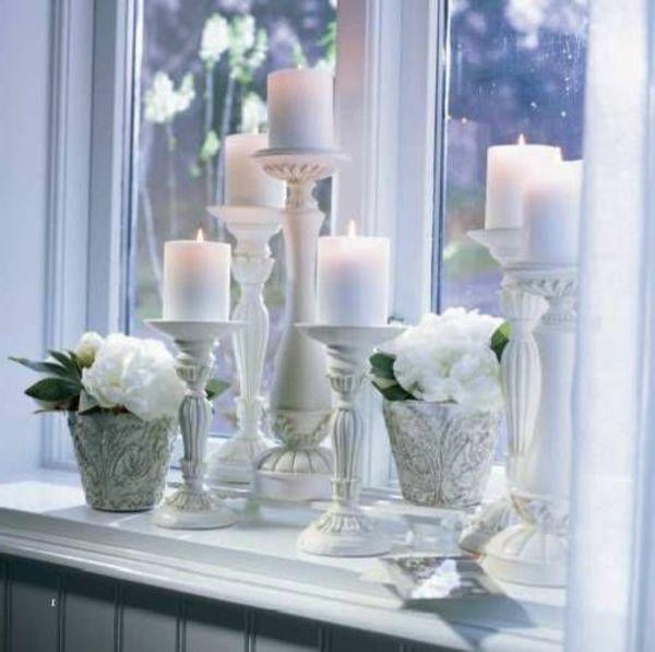 Schöne Wohnideen Fensterbank Deko Kerzen Pflanzen