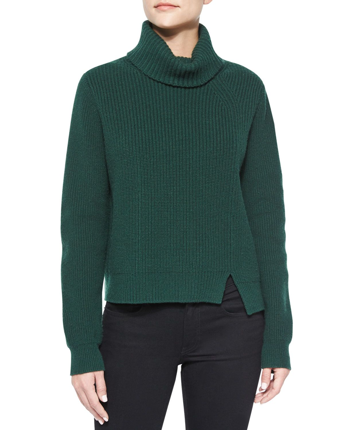334103d1f1 Asymmetric-Slit Cashmere-Blend Turtleneck Sweater
