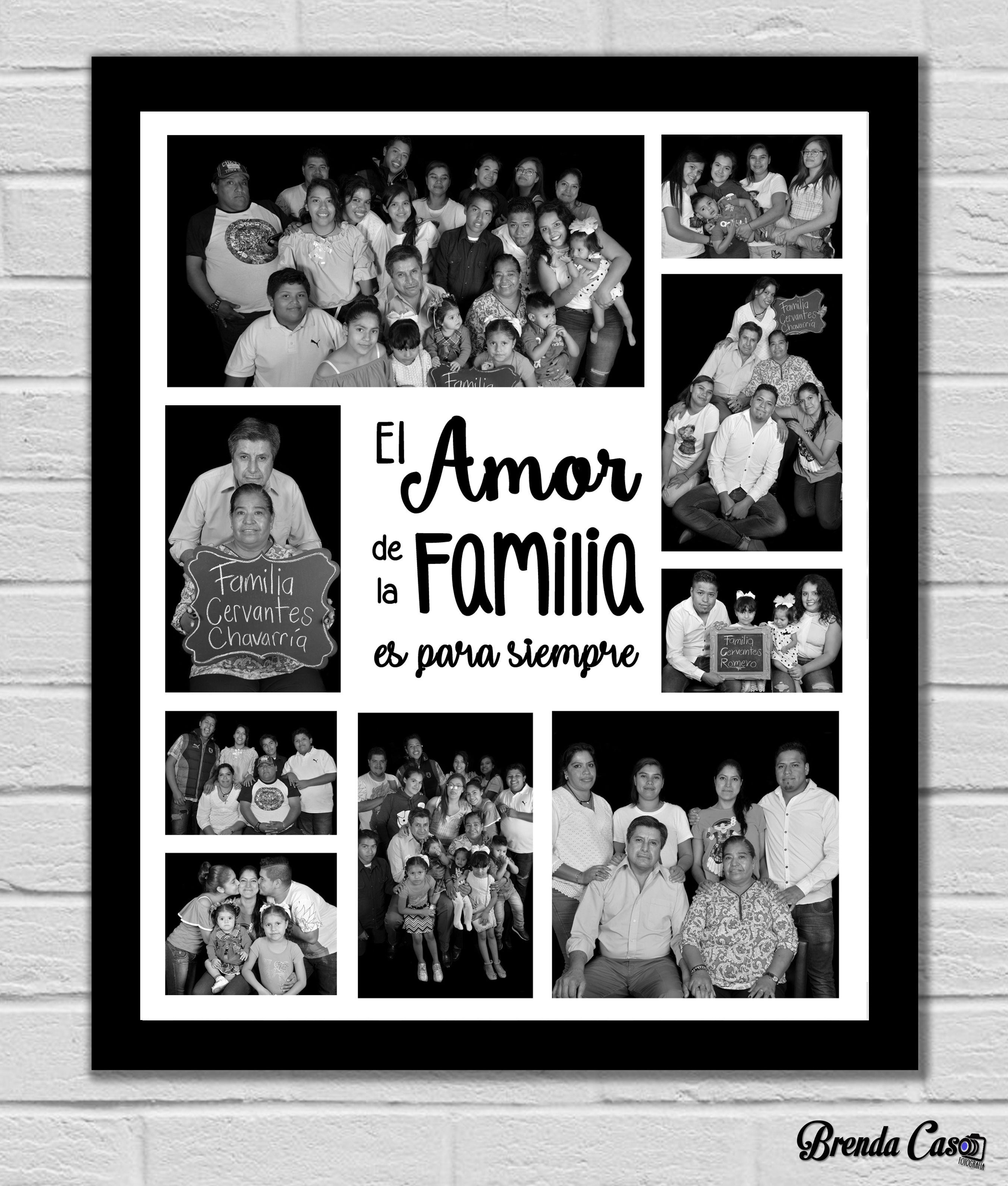 Collage Amor De Familia Cuadro Texturizado Con Marco Color Negro