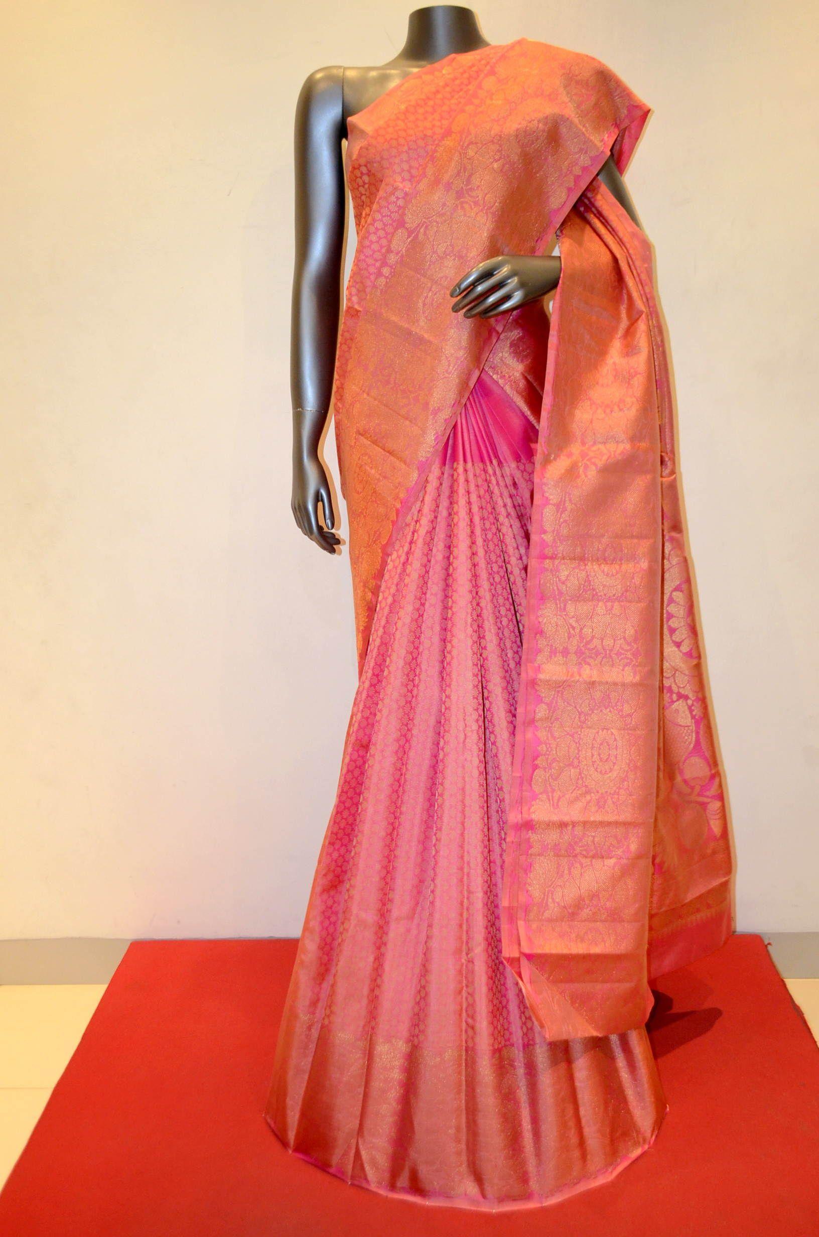 Kanjeevaram bridal saree with zari border product code ab
