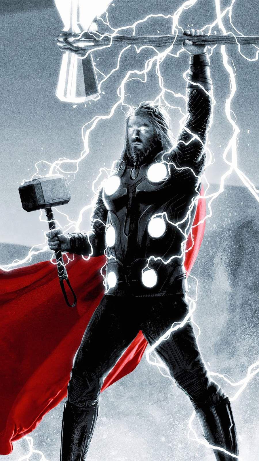 Thor Thunder Art iPhone Wallpaper Avengers, Marvel