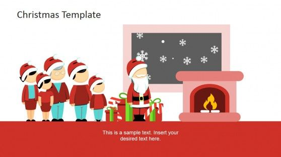 PowerPoint Clipart Scene Family and Santa and Family Cartoon Characters ready to be used for presentations on Christmas #PowerPoint #templates