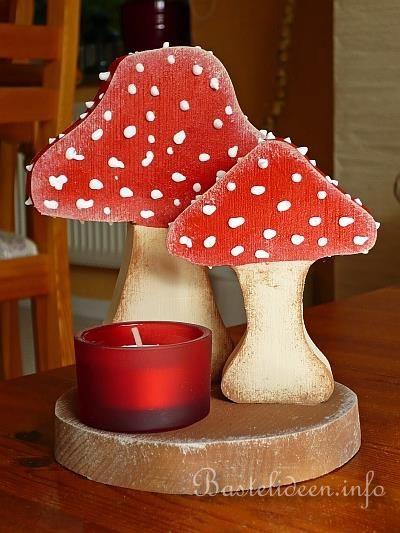 holzbasteln tischdekoration mit pilzen und teelicht - Holzbasteln