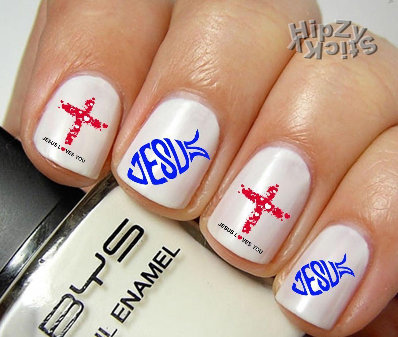 Nail Art 553 Image Jesus 1 Fish Cross Waterslide Nail Decals Transfers Sticker Cross Nails Nails Manicure