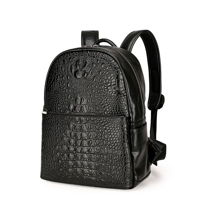 2d03084635 New men s leather Backpack Korean Fashion Crocodile Pattern Notebook  Computer Bag Male Business Travel Backpack