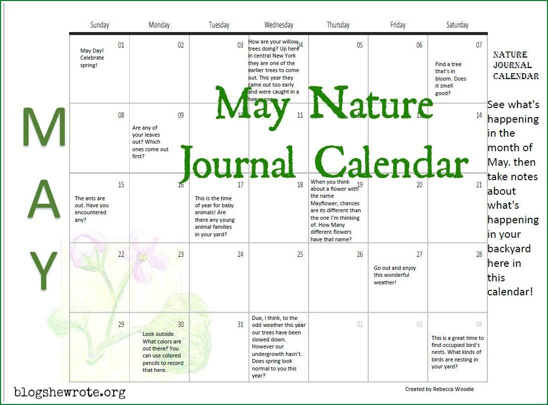 May Nature Journal Calendar