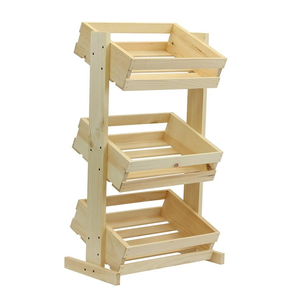 Crates And Pallet Large Tiered Wood Crate Stand Unfinished 69018   The Home  Depot
