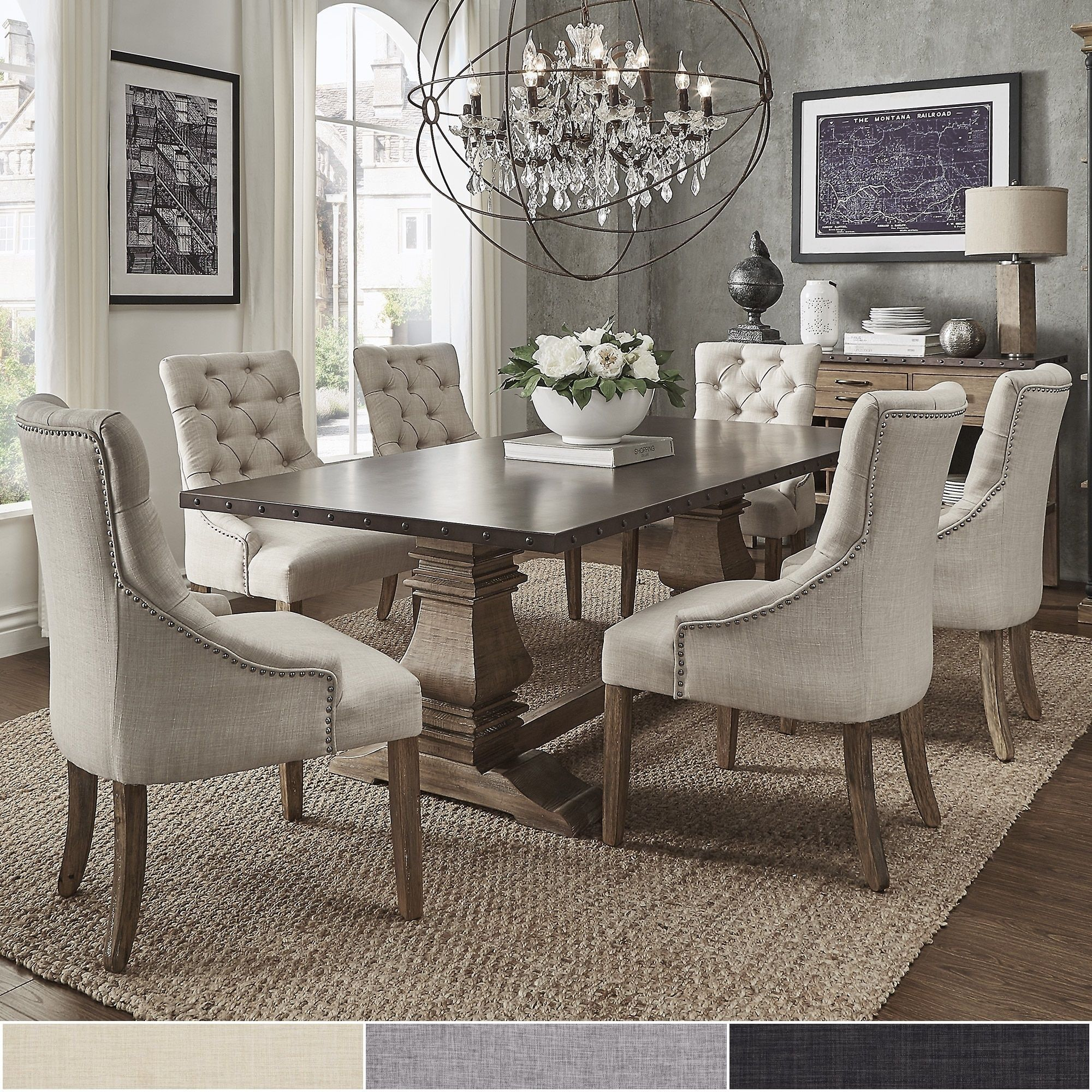 Apartment Size Dining Room Sets: Voyager Wood And Zinc Balustrade 7-Piece Rectangle Dining