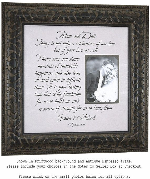 Bride And Groom Wedding Gift For Parents Mom And Dad