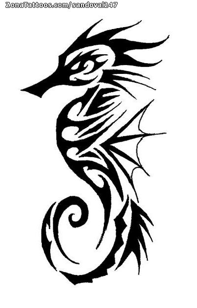 Diseño De Caballitos De Mar Tribales Animales Stencil Tattoos
