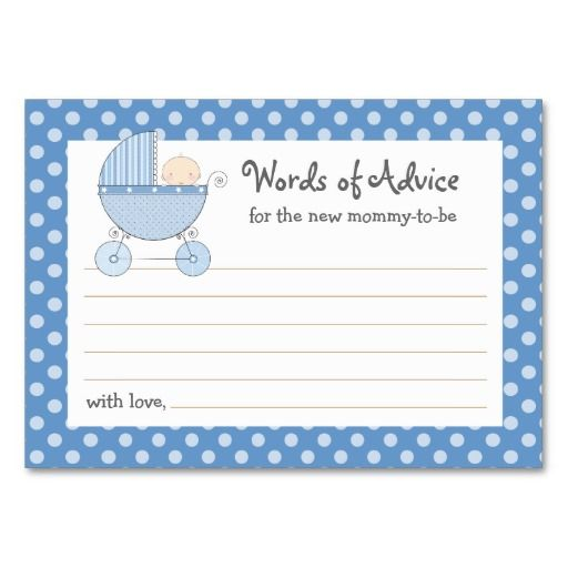Baby Shower Mommy Advice Cards
