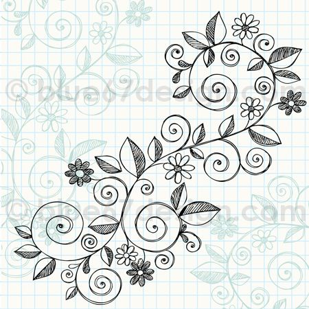 Hand,Drawn Sketchy Notebook Doodle Vine with Flowers Vector