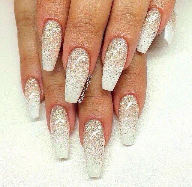White Glitter Ombre Nails Bridal Nail Art Nail Designs Glitter Prom Nails