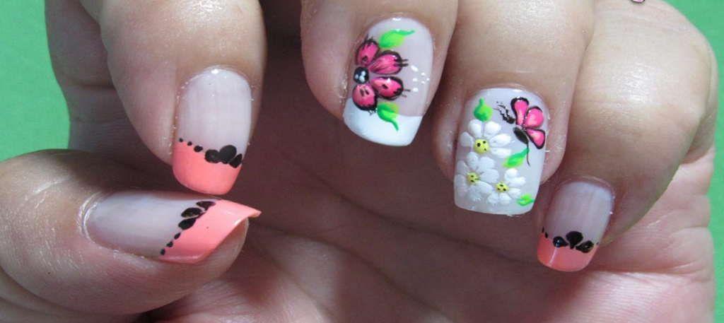 Uñas Decoradas Con Flores Faciles Fransesa Pinterest