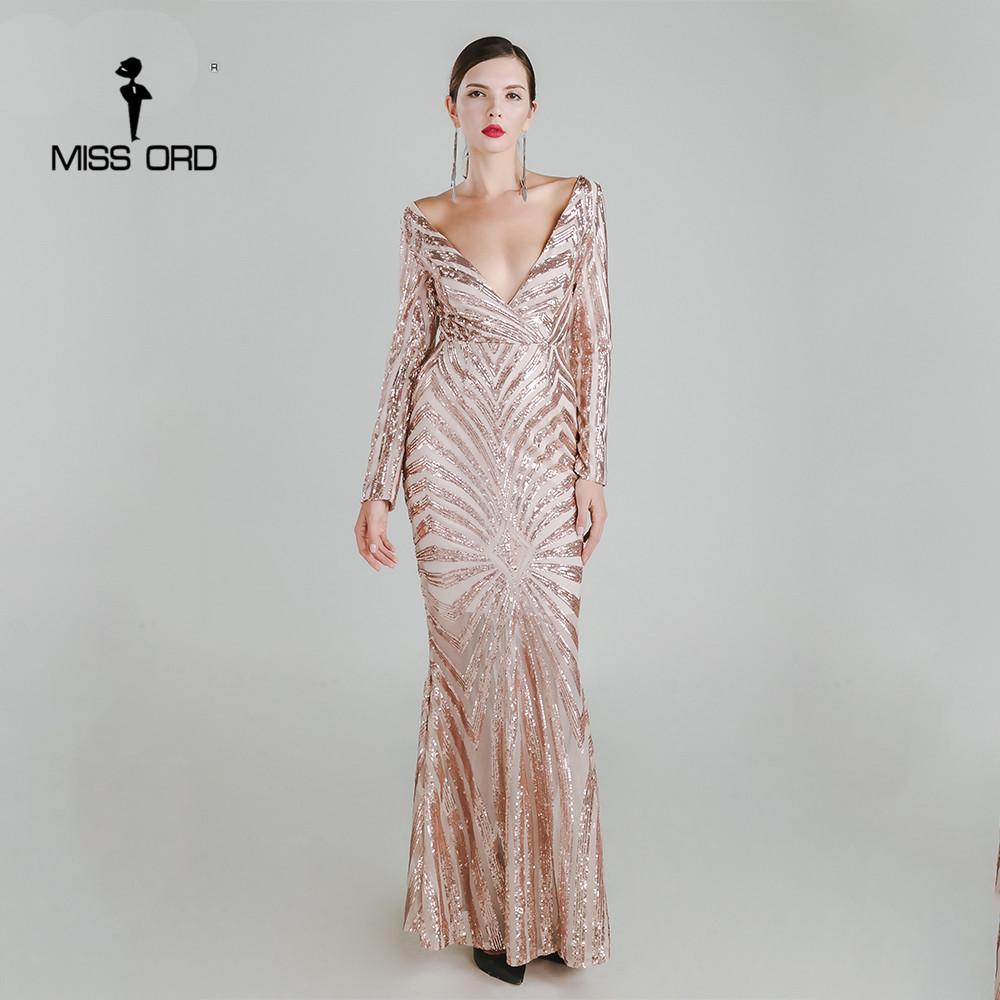 Sexy Deep-V Long Sleeve Retro Sequin Maxi Dress  423bf6b25316