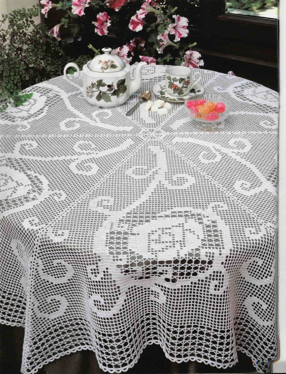 Special Occasion Big Round White Crocheted Tablecloth Round ...