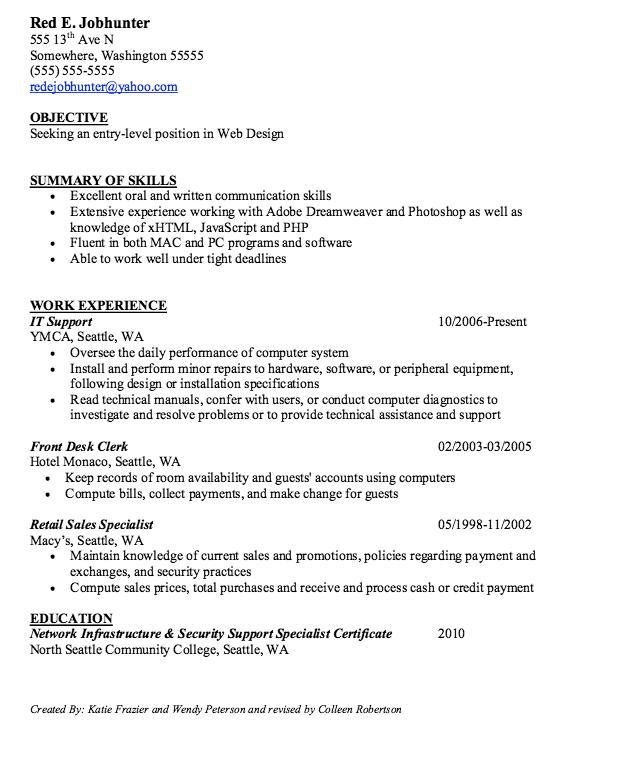 Web Design Resume Sample Entry Level Web Design Resume Samples  Httpresumesdesign .