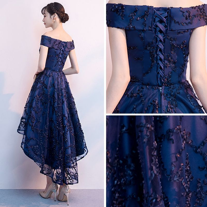 3da0919a48 Chic   Beautiful Navy Blue Cocktail Dresses 2018 A-Line   Princess Off-The-Shoulder  Short Sleeve Appliques Lace Asymmetrical Ruffle Backless Formal Dresses