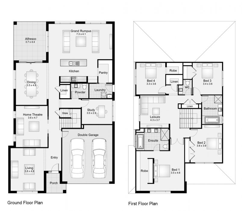 Bayside 38 Floorplan For Web Only Like Downstairs Study Could Double As Guest Room Would Like Kitchen Placement Slightly House Floor Plans House Design Modern House Design