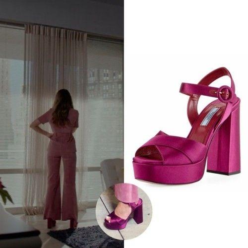 610a54b6e57 Fallon Carrington wears these fuchsia pink satin crisscross 115mm platform  Prada sandals on Dynasty 2x05
