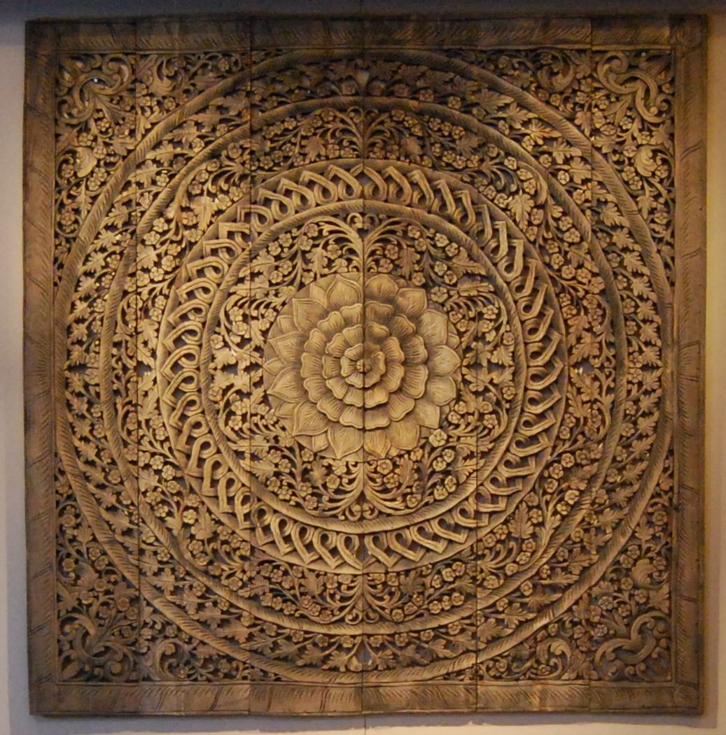 Wood carved panels from ldzigt cabecero mandala