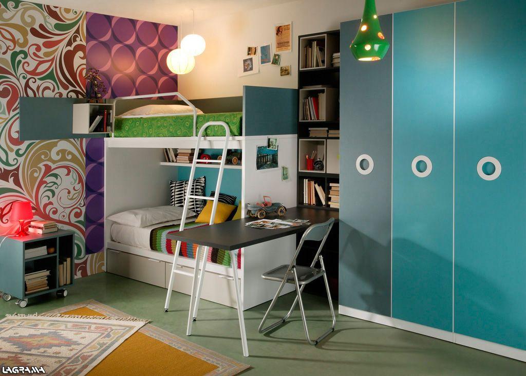 dormitorio juvenil con litera estantera escritorio y armario de