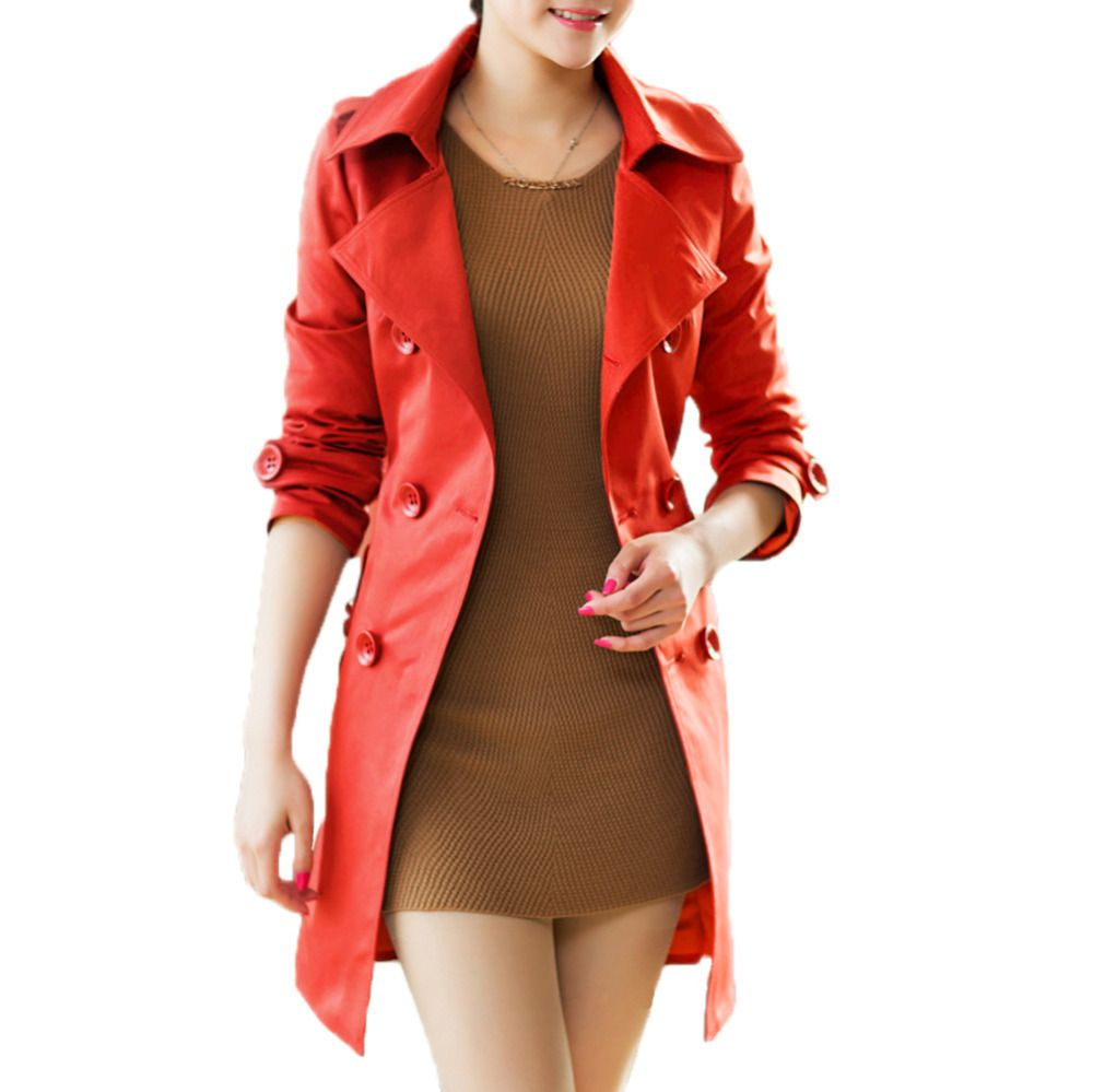 Buy from china:New Arrival Office OL style Fashion Women Trench Coat Outerwear Long Coat Double Breasted Belted Waist Turn-Down Collar