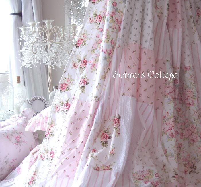 Shabby Chenille Pink Roses Aqua Blue Cottage Chic Patchwork Shower