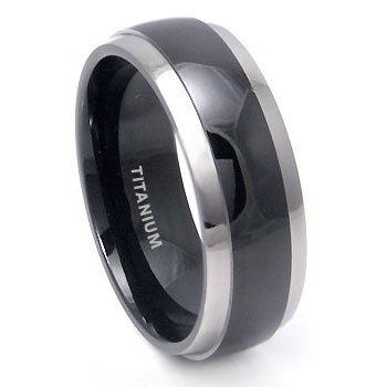 Black Anium Wedding Band Ring With Grey Edge 7 15 Additional Details